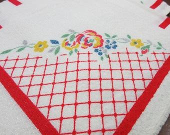 Set of 4 Napkins Off White Red Border  Floral Corner