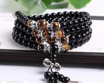 Buddhist mala Tiger eye - Obsidian