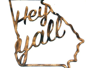 Hey Y'all Wooden Door Hanger, Hey Y'all Georgia Wooden Door Hanger, Hey Y'all Georgia Door Hanger Cutout, Southern Home Decor, Georgia Door