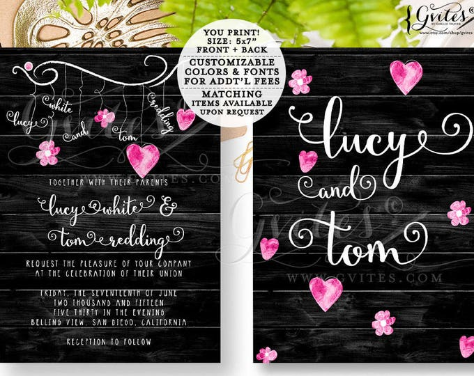 Pink and black wedding invitations, modern, glitz glam, designer couture wedding custom invitations, printables, rustic, sleek chic, 5x7