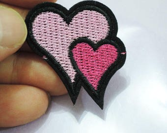 Iron on Patch - Pink Heart in Heart  Love Patches Iron on Applique Full Embroidered Patch Sewing Patch