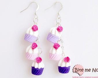 Triple Rose Cupcakes Earrings, Cupcake Hook Earrings, Cupcake Jewelry, Mini Food, Polymer Clay Sweets, Food Jewelry