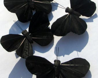 Butterfly Hair clip SOLD INDIVIDUALLY Black Butterfly black feather butterfly Accessory handmade Gift For Her by Ziporgiabella