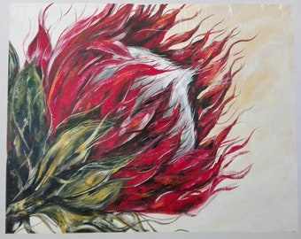 South-African Art | Acrylic Painting | Symbolizes Transformation | Home Decor | Wall Art | Painting of Proteas | Titled: The Protea Flower
