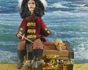 Peter Pan Doll Miniature Captain Hook the Pirate With Treasure Chest Scene