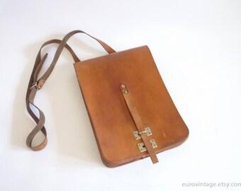 Vintage Unused Brown Leather Shoulder Bag Military Messenger Bag 60s