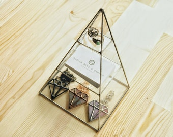 Pyramid Jewelry Box, Geometric Glass Box, Handmede Terrarium, Accessory Box, Stained Glass Display Box, Jewelry Box, Organiser, Gift for Her