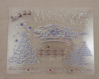 Stamp set transparent motif: landscape Christmas