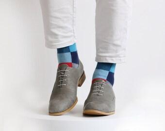 Gray Mens shoes leather Oxford brogue shoe , ADIKILAV