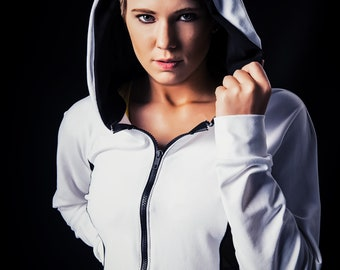 White Performance Hoodie with Cool Mesh Sides and Zip Front