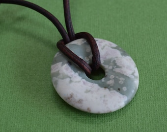 Leather Necklace with Peace Jade Donut Surfer Jewelry