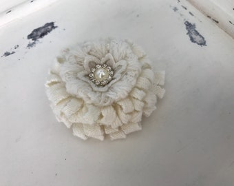 "Knit fabric flower ,with pearl and rhinestone flower in the  center. 2 3/4"". Approx."