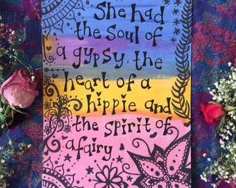 She had the soul rainbow positivity quote print