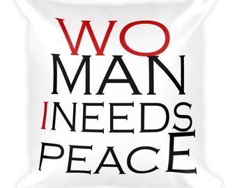 Man Needs Peace Square Pillow, decor pillow, man cave pillow, gift for husband, gift for boyfriend, gift for friend