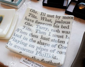 Fused glass dish with text from Shakespeare's A Midsummer Night's Dream