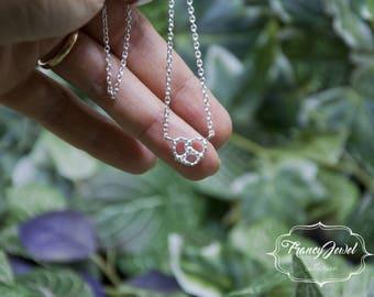 Silver pretzel necklace
