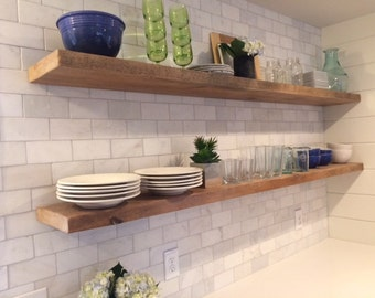 HEAVY-DUTY RECLAIMED Wood Floating Shelves + Steel Brackets Made to Order