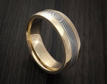 Damascus steel 14k yellow gold ring wedding band custom made