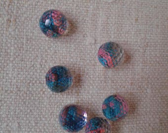 set of 5 scales, pink and blue, domes, resin cabochons