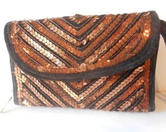 Bolso de tarde, bolso moldeado, bolso Vintage de cobre, cuentas de embrague, bolso de cobre, Glamour monedero, bolso brillante EB-0357