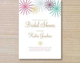bridal shower invitation -  printable invitation - flower stars