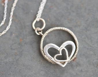 Two Hearts Necklace - Vintage Sterling Siver Forever Love Pendant on Chain - New Romantics