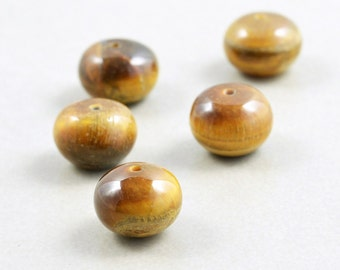 Tiger Eye Beads, 10mm Rondelles, Brown Beads, Fall, Five