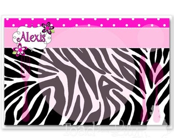 Kids PLACEMAT Hot Pink Zebra Print Children's Personalized Wipe-able Place Mat Learn to Set the Table Laminated PLM026