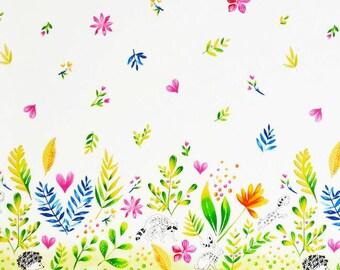 Border Fabric - Tamara Kate Frolic - Michael Miller Cotton Fabric - Raccoon Garden Fabric - Colorful Floral Border Fabric - by the Yard