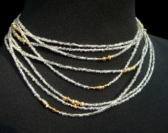Multi Wrap Necklace,Long Beaded Wrap Necklace,Silver Wrap Necklace,Gold Jewelry,Silver Jewelry,Silver Gold Jewelry,Handmade Wrap Necklace