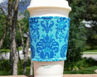 FREE SHIPPING UPGRADE with minimum -  Fabric coffee cozy / cup sleeve / coffee sleeve / cup cozy / Teal on Aqua Damask