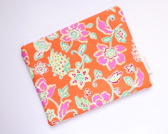 zippered pouch, paisley clutch, wallet, floral pouch, purse organizer, bridesmaids gift, id pouch, floral pouch