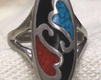 Vintage Two Hearts Ring Silver Turquoise Coral Native Style