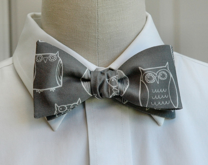 Men's Bow Tie, Owl bow tie, Gray bow tie, Rice University gift, bird lovers gift, bird bow tie, graduation bow tie, gray and white bow tie,