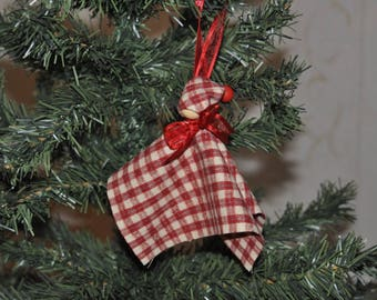 set of 4 small elves of Christmas plaid fabric