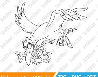 Seagull. Cute Wildlife Animals. Digital Stamp. Digi Stamp. Digistamp. Coloring page for kids. Printable Clipart. Instant download print.