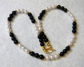 Black and White Gemstone Necklace with Freshwater Pearls, Black Jasper and Gold Beads