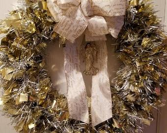 Gold Tinsel Wreath