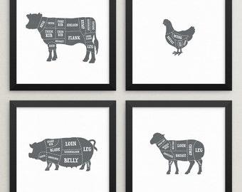 Set of 4 butcher prints – Butcher poster set – Butcher chart set – Butcher diagram set – Meat cuts – Kitchen art – Kitchen prints –BUT001