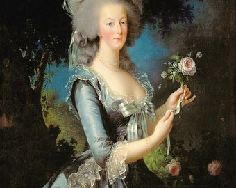 Elisabeth Louise Vigee Le Brun: Marie Antoinette with a Rose. Fine Art Print/Poster. (003615)