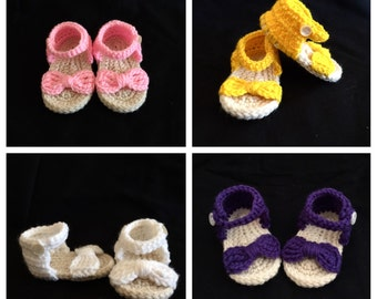 Crochet baby sandals bow, baby flip flops, baby sandals with bow, kids sandals
