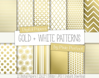 "Gold and White Patterns Digital Paper -12x12"" Paper Pack Scrapbooking Paper Pattern Background Instant Download Commercial Use OK CU4CU (65)"