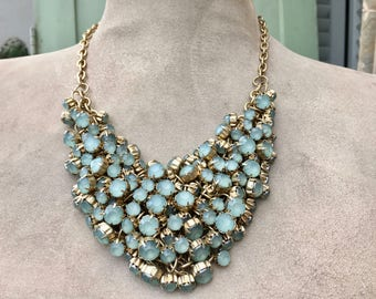 Unusual and Dramatic Bib Necklace with Lots of Pale Green Faceted Prong Set Stones