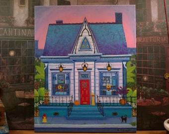 New Orleans Art / Tudor Bleu / Dollhouse / Sassy Cat / Bright Vivid Colors / Detailed / Original Painting / Signed by Artist