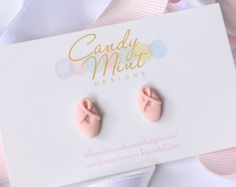 Ballet Slipper Earrings - Handmade Handcrafted Polymer clay Earring Studs