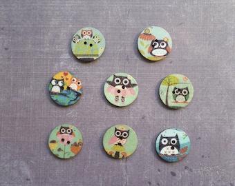 30 buttons round wood bird Owl 2 cm