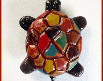 Broche tortuga hecho mano, amante animales, regalo Navidad, broche pin tortuga pintado mano, regalo niña, broche colores pin chaqueta.