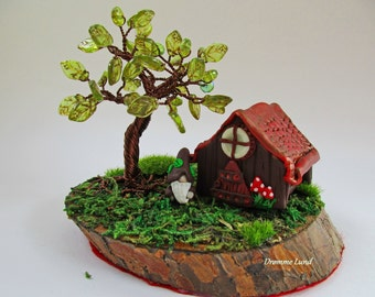 A Gnome's Home (Decorative OOAK  Tree Sculpture With Whimsical House and Gnome)