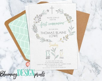 Baptism Invitation, Modern Baptism Christening, First Communion, Floral Watercolor Customized Invite