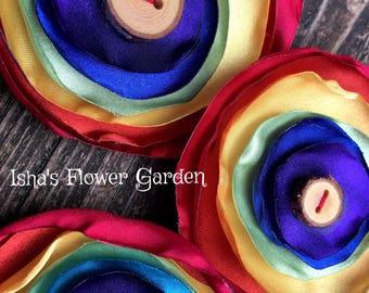 Rainbow hair flower, rainbow fabric flower, rainbow flower